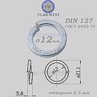 Шайба пружинна гровер Ø 12*21,1 мм DIN 127 оцинкована