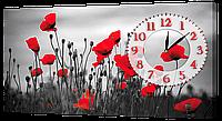 Настенные часы на холсте Декор Карпаты K-607 Маки (BqIf45986)