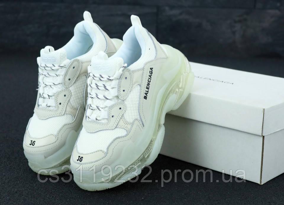 Женские кроссовки Balenciaga Triple-S (бело-серые)
