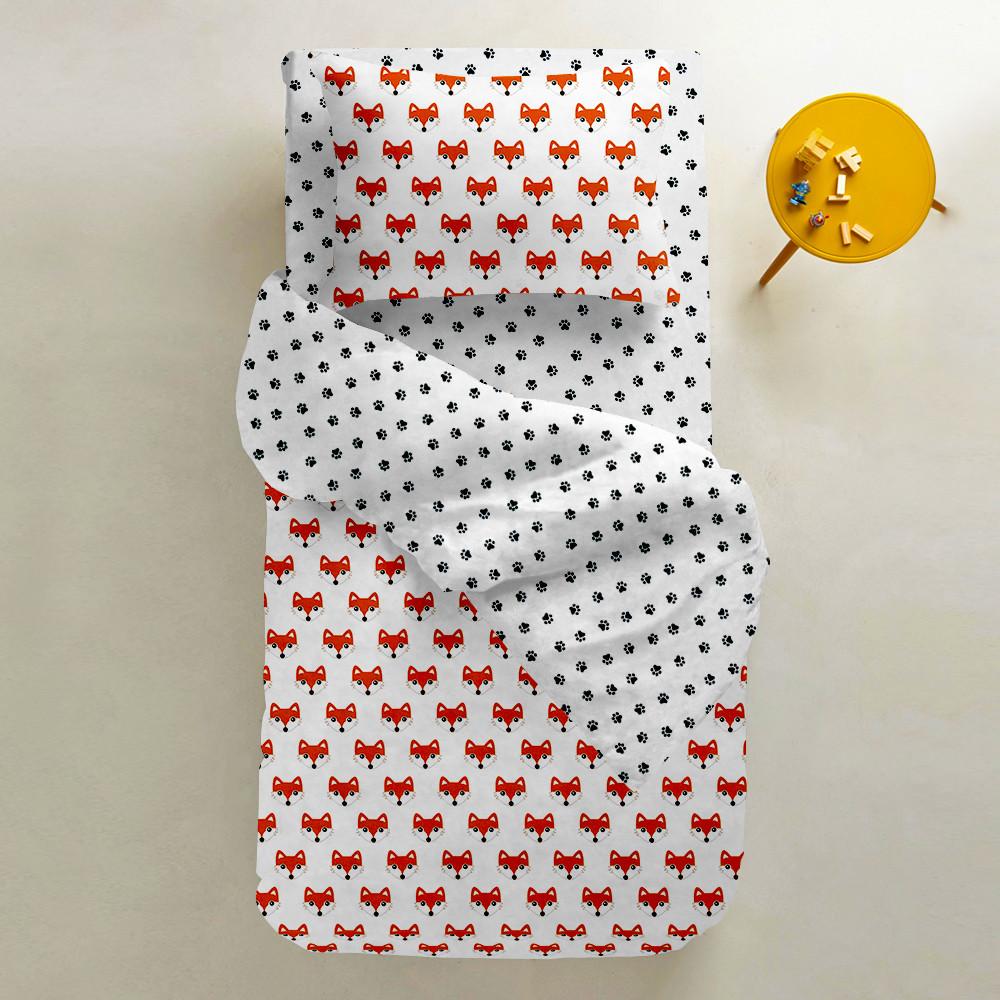 Комплект подросткового постельного белья FOX /лапки/