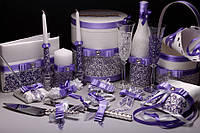 Свадебный набор аксессуаров для свадьбы в сиреневом цвете