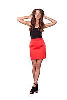 Красная короткая женская юбка с пуговицами, фото 1