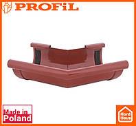 Водосточная пластиковая система PROFIL 130/100 (ПРОФИЛ ВОДОСТОК). Угол наружный Z135°. кирпичный
