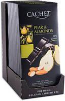 Чорний шоколад 57% какао Cachet 100гр (Бельгія) Pear & Almonds (з грушею і мигдалем)
