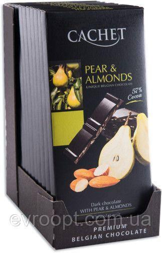 Черный шоколад 57% какао Cachet 100гр (Бельгия) Pear&Almonds (с грушей и миндалем)