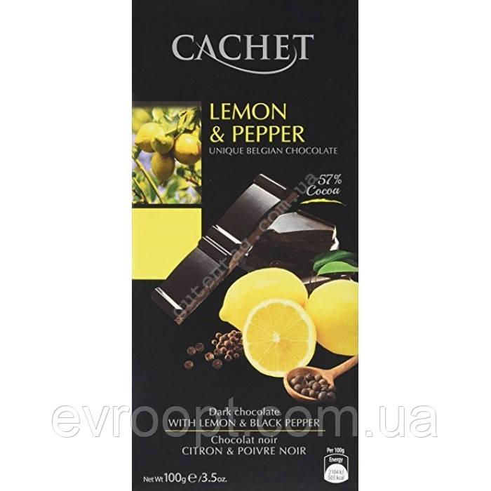 Черный шоколад 57% какао Cachet 100гр (Бельгия) Lemon&Pepper (с лимоном и перцем)