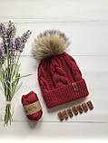 Вязаная шапка для девочки ручной вязки. Женская вязаная шапка., фото 2