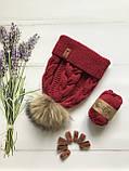Вязаная шапка для девочки ручной вязки. Женская вязаная шапка., фото 4
