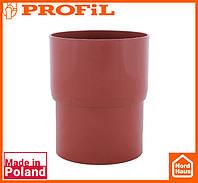 Водосточная пластиковая система PROFIL 130/100(ПРОФИЛ ВОДОСТОК). Соединитель водосточной трубы, кирпичный