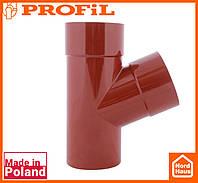 Водосточная пластиковая система PROFIL 130/100 (ПРОФИЛ ВОДОСТОК).Тройник Ø100/100/67º , кирпичный