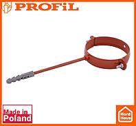 Водосточная пластиковая система PROFIL 130/100 (ПРОФИЛ ВОДОСТОК). Держатель трубы метал L100 , кирпичный