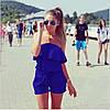 Женский летний комбинезон шортами с воланом и открытими плечами бежевый, фото 2