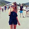 Женский летний комбинезон шортами с воланом и открытими плечами бежевый, фото 6