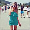 Женский летний комбинезон шортами с воланом и открытими плечами бежевый, фото 7