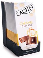 Бельгійський шоколад Cachet 100гр (Бельгія) молочний шоколад з карамеллю і сіллю