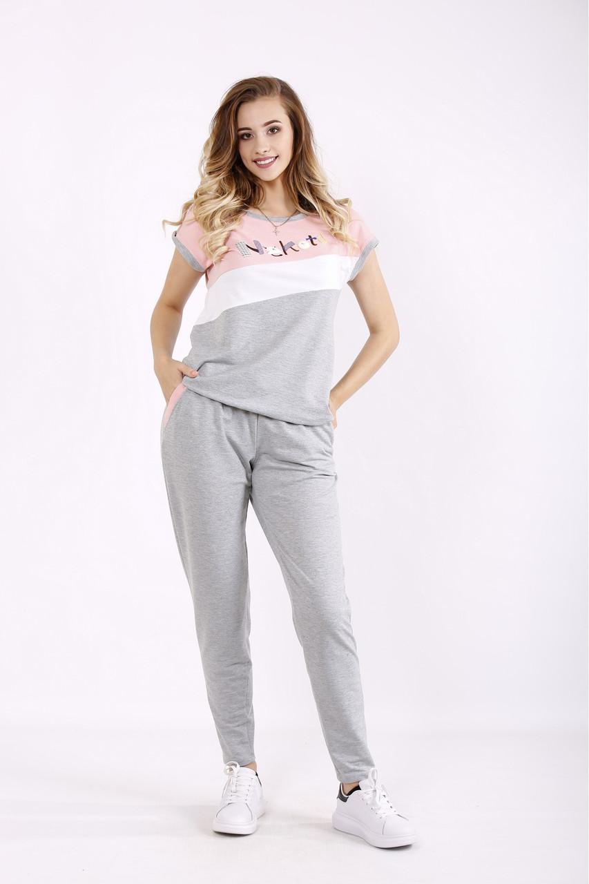 01239-1 | Сірий з рожевим спортивний костюм