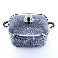 Кастрюля-казан с крышкой 5.1 л из литого алюминия с гранитным антипригарным покрытием Benson
