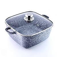 Кастрюля-казан с крышкой 3 л из литого алюминия с гранитным антипригарным покрытием Benson