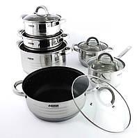 Набор кастрюль со сковородой-сотейником из нержавеющей стали из 12 предметов Benson многослойное дно