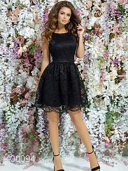 Маленькое платье из гипюра с атласной подкладкой, 00094 (Черный), Размер 46 (L)