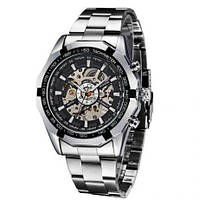 Мужские механические часы Winner Timi Skeleton Silver (WS-101)