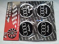 Наклейки на заглушки литых дисков (колпачки) с логотипом Audi (ауди)