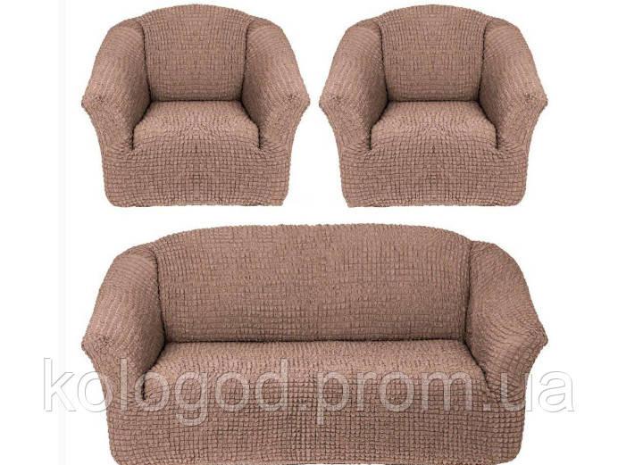 Комплект Чехлов На Трехместный Диван И 2 Кресла Без Оборки Модель 211