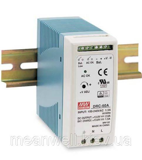 DRC-100B Mean Well Блок живлення з функцією UPS на DIN-рейку 96,6 Вт, ch1 - 27,6 В/2,25 А, ch2 - 27,6 В/ 1,25 А