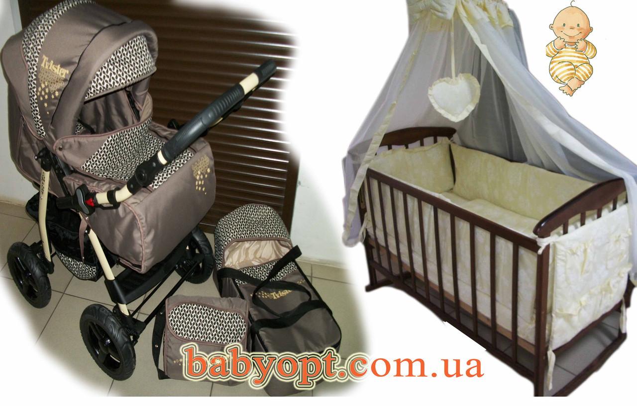 Акция! Коляска, кроватка, матрас кокос, набор постельного.