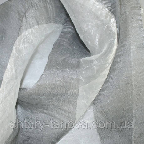 Органза полоса креш молочно-серый