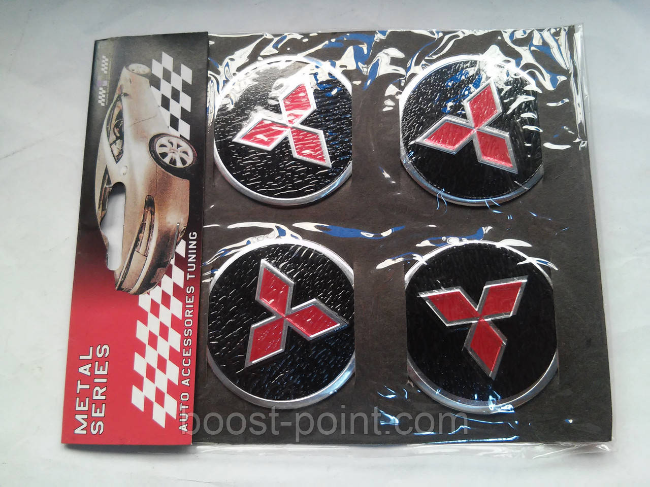 Наклейки на заглушки литых дисков (колпачки) с логотипом mitsubishi (митсубиси)