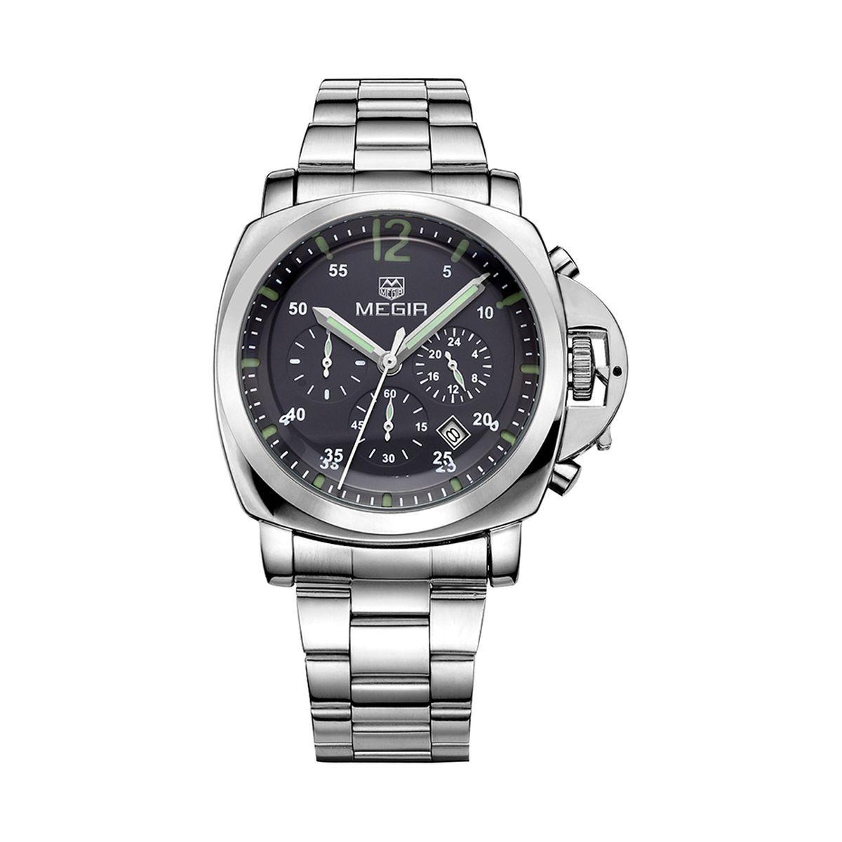 Часы Megir Silver Black Silver MG3006 SS (MS3006G-1)