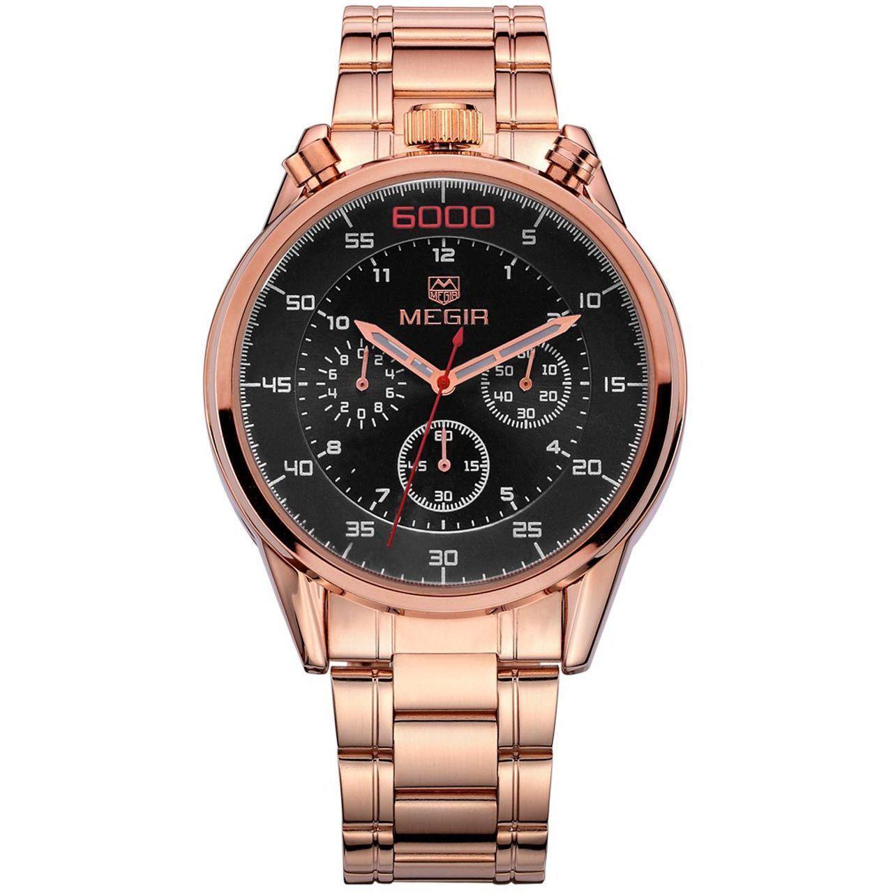 Часы Megir Gold Black Gold MG3005 SS (MS3005GRE-1N0)