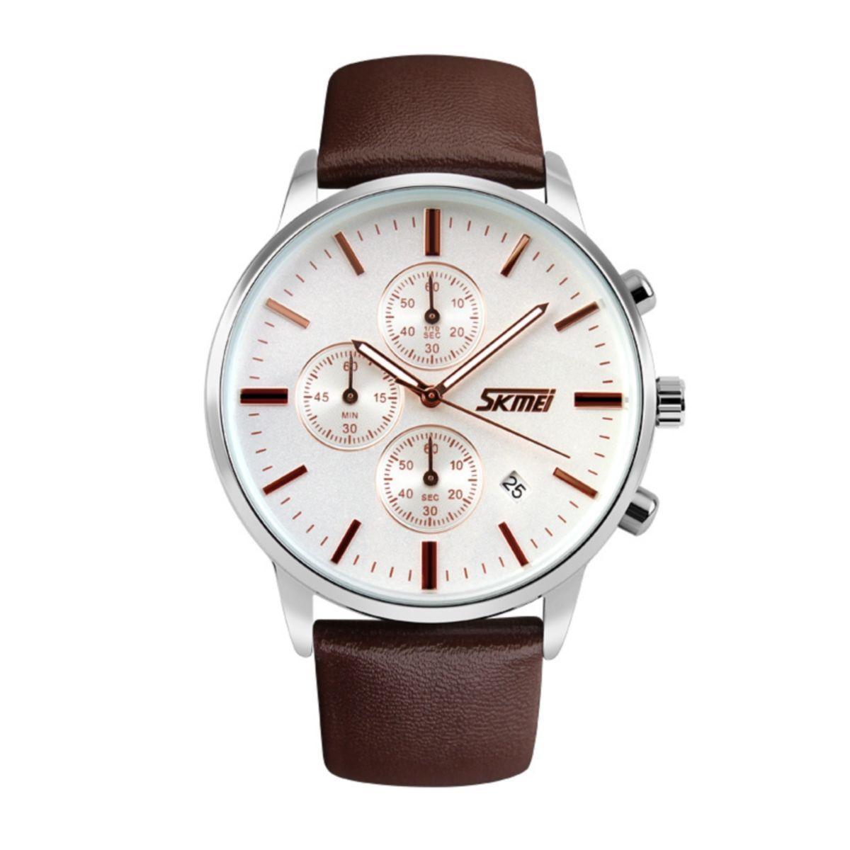 Часы Skmei 9103 White Dail Coffe Strap BOX (9103BOXWCFS)