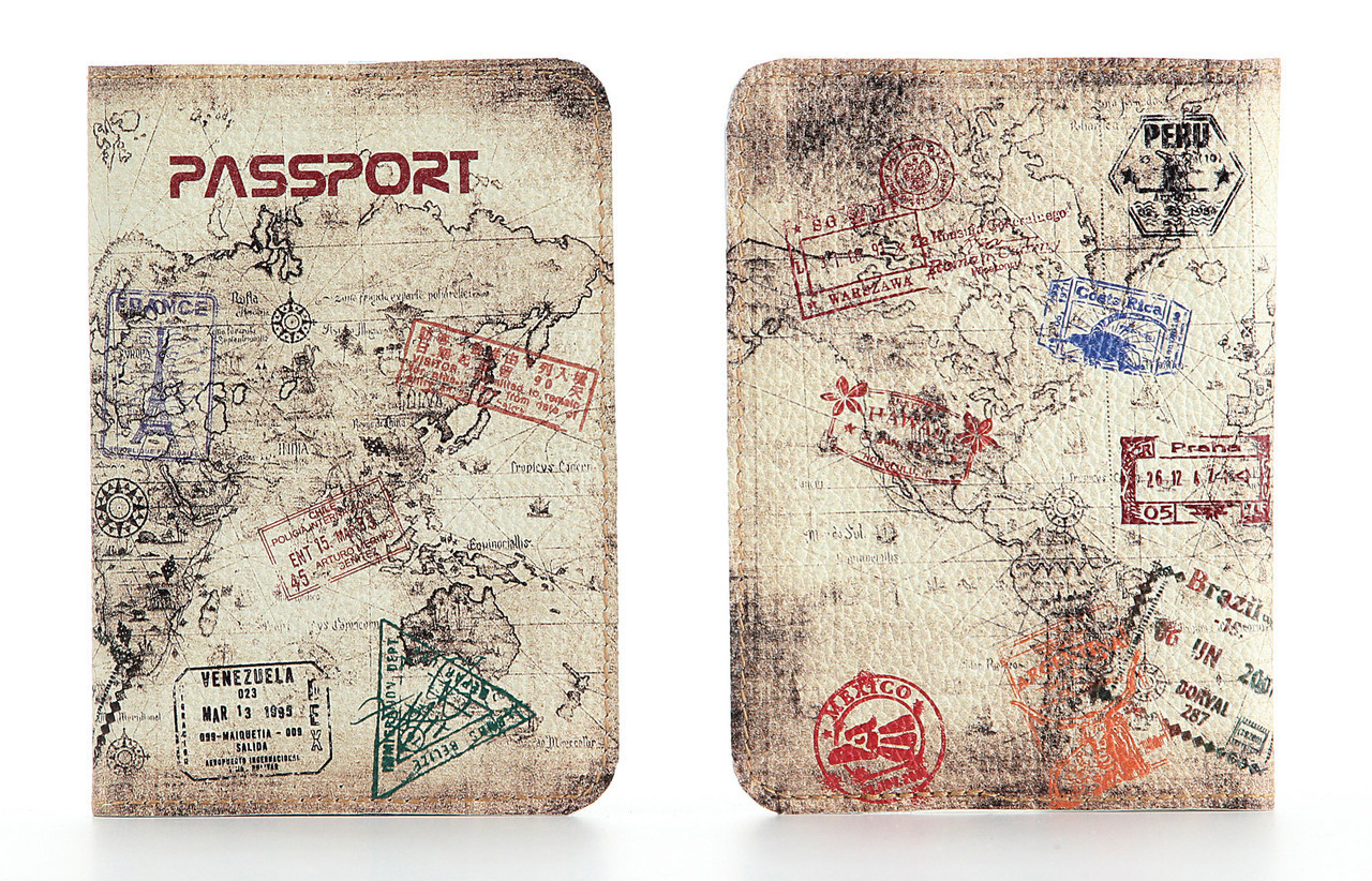 Кожаная обложка на паспорт StVeles Карта мира (156-155351)