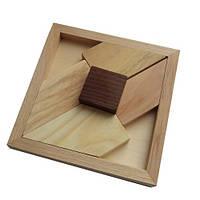 Деревянная головоломка Круть Верть Черный квадрат большой 2х12х12 см (nevg-0033), фото 1