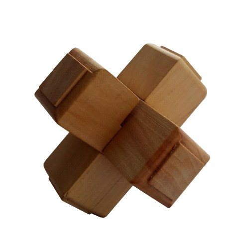 Деревянная головоломка Круть Верть Крест 1+1+1 7х7х7 см (nevg-0016)