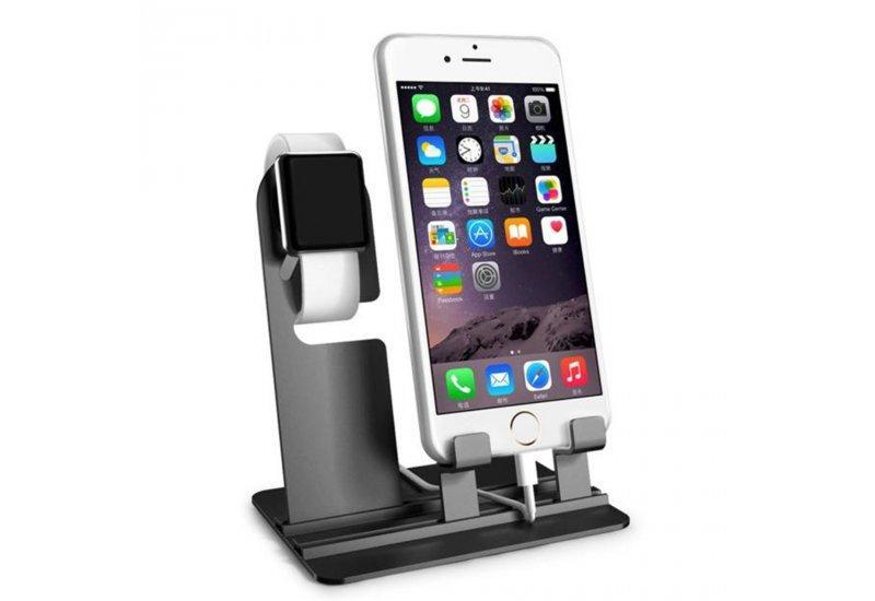 Подставка под Apple Watch 38/42mm/ iPhone 5/5s/6/6s/6 plus aluminium Черная (AL976)