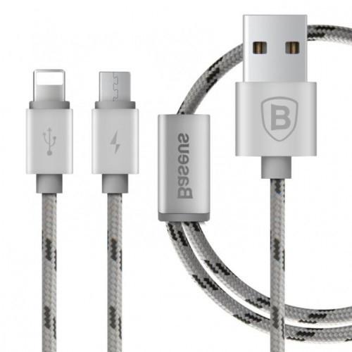 USB кабель Baseus Series 2 in 1 Micro USB + Lightning 1.2M Silver (IGBLS21MLS3)