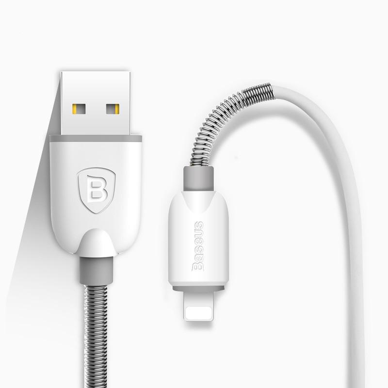 USB кабель Baseus Spring Lightning 1M White (IGBLS1MWG3)