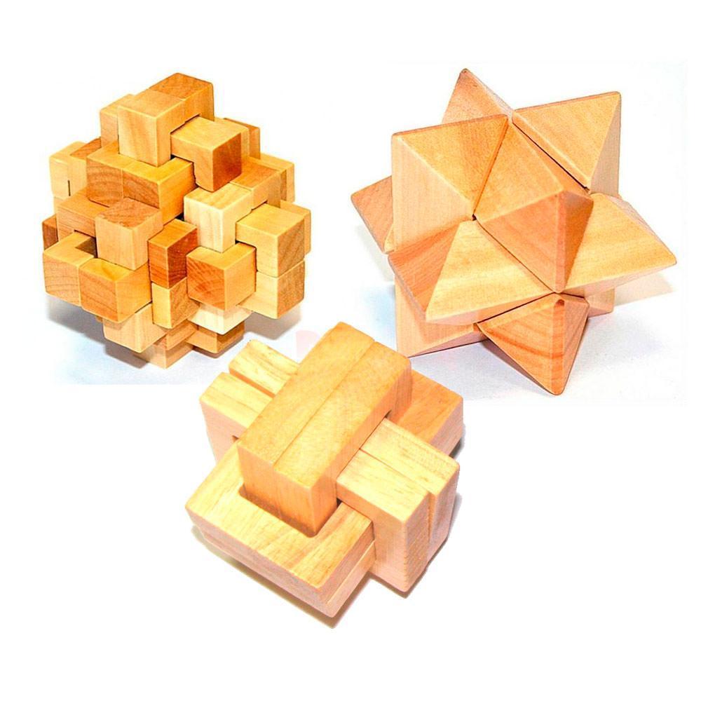 Набор трех деревянных головоломок Kronos Toys Дерево (krut_0561)