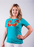 Женская футболка с вышитым узором