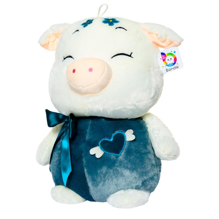 Мягкая игрушка BONDIK Свинка 50 см Белая с синим (BК 2019)
