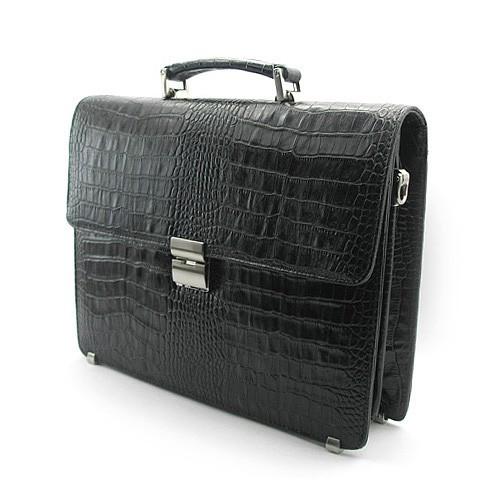 Портфель кожаный мужской классический жесткий черный Desisan 2005-11