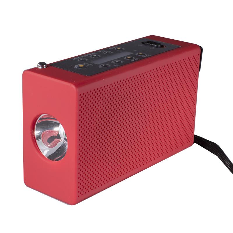 Фонарь Haoyi HY-018 с динамо и радио USB micro SD Red (1640-5889)