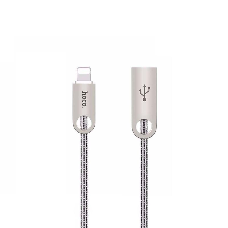 Кабель USB Hoco U8 Zinc Alloy Metal Lightning 1.2m Grey