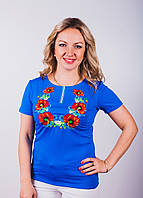 Женская вышитая футболка синего цвета
