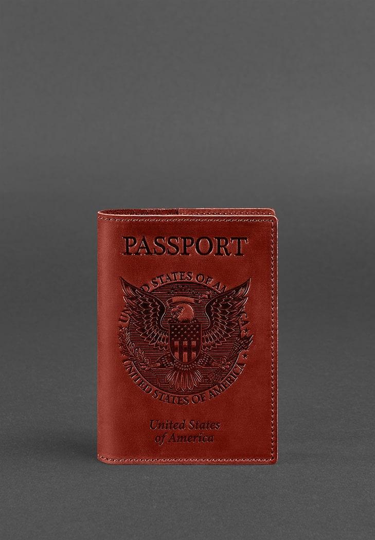 Обложка для паспорта BlankNote с американским гербом Коричневый (BN-OP-USA-coral)