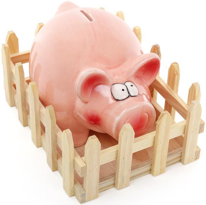 Статуэтка-копилка Bona Веселая свинка с оградой керамическая (psg_BD-971-719)