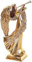 Декоративная фигура Ангел играет на трубе 11.7 х 16.1 х 31.4 см Золотистый (psg_BD-837-207)
